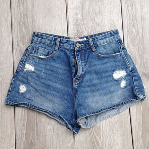 Zara Trafaluc Distressed High Rise Shorts